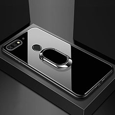 Silicone Frame Mirror Case Cover with Magnetic Finger Ring Stand for Huawei Enjoy 8e Black