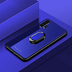 Silicone Frame Mirror Case Cover with Magnetic Finger Ring Stand for Huawei Honor 20 Pro Blue