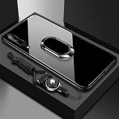 Silicone Frame Mirror Case Cover with Magnetic Finger Ring Stand for Huawei Y8p Black