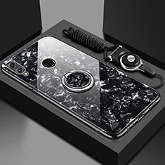 Silicone Frame Mirror Case Cover with Magnetic Finger Ring Stand for Huawei Y9 (2019) Black