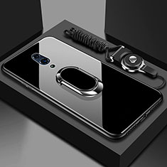Silicone Frame Mirror Case Cover with Magnetic Finger Ring Stand for Realme X Black