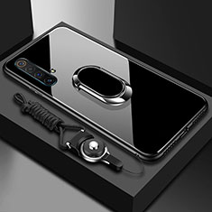 Silicone Frame Mirror Case Cover with Magnetic Finger Ring Stand for Realme X50m 5G Black