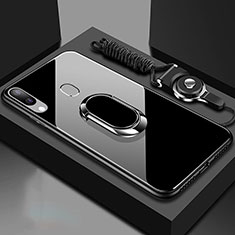 Silicone Frame Mirror Case Cover with Magnetic Finger Ring Stand for Samsung Galaxy A30 Black