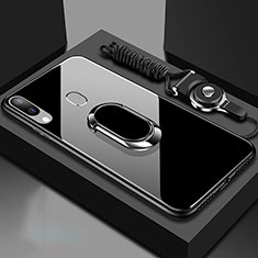 Silicone Frame Mirror Case Cover with Magnetic Finger Ring Stand for Samsung Galaxy A40 Black