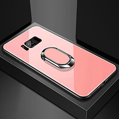 Silicone Frame Mirror Case Cover with Magnetic Finger Ring Stand for Samsung Galaxy S8 Rose Gold