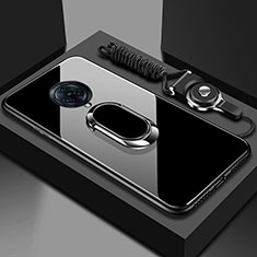 Silicone Frame Mirror Case Cover with Magnetic Finger Ring Stand for Vivo Nex 3 Black