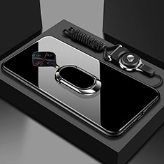 Silicone Frame Mirror Case Cover with Magnetic Finger Ring Stand for Vivo X50 Lite Black