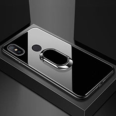 Silicone Frame Mirror Case Cover with Magnetic Finger Ring Stand for Xiaomi Mi 8 Black