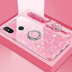 Silicone Frame Mirror Case Cover with Magnetic Finger Ring Stand for Xiaomi Redmi 6 Pro Pink