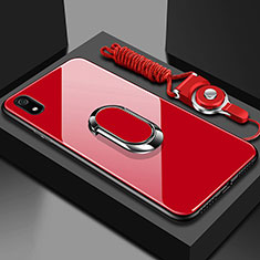 Silicone Frame Mirror Case Cover with Magnetic Finger Ring Stand for Xiaomi Redmi 7A Red