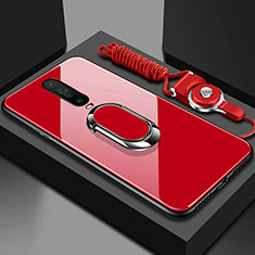 Silicone Frame Mirror Case Cover with Magnetic Finger Ring Stand for Xiaomi Redmi K30 5G Red