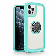 Silicone Frame Mirror Case Cover with Magnetic Finger Ring Stand N01 for Apple iPhone 12 Pro Cyan