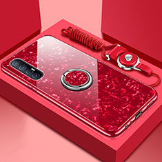 Silicone Frame Mirror Case Cover with Magnetic Finger Ring Stand T01 for Oppo Find X2 Neo Red