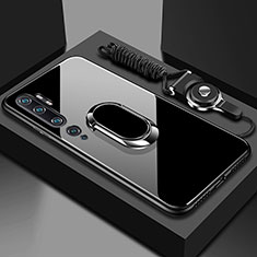 Silicone Frame Mirror Case Cover with Magnetic Finger Ring Stand T01 for Xiaomi Mi Note 10 Black