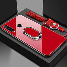 Silicone Frame Mirror Case Cover with Magnetic Finger Ring Stand T02 for Huawei Honor 20 Lite Red