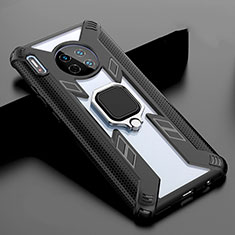 Silicone Frame Mirror Case Cover with Magnetic Finger Ring Stand T02 for Huawei Mate 30 Black