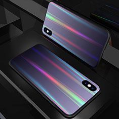 Silicone Frame Mirror Rainbow Gradient Case Cover A01 for Apple iPhone X Black
