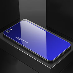 Silicone Frame Mirror Rainbow Gradient Case Cover for Apple iPhone 6S Blue