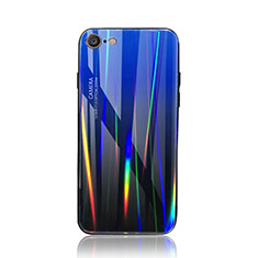 Silicone Frame Mirror Rainbow Gradient Case Cover for Apple iPhone 8 Blue