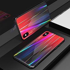 Silicone Frame Mirror Rainbow Gradient Case Cover for Apple iPhone Xs Red
