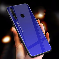 Silicone Frame Mirror Rainbow Gradient Case Cover for Huawei Honor 20i Blue