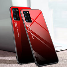 Silicone Frame Mirror Rainbow Gradient Case Cover for Huawei Honor View 30 Pro 5G Red