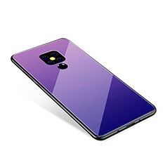 Silicone Frame Mirror Rainbow Gradient Case Cover for Huawei Mate 20 Purple