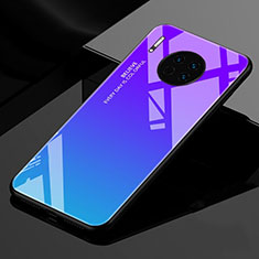 Silicone Frame Mirror Rainbow Gradient Case Cover for Huawei Mate 30 Pro 5G Blue