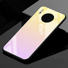 Silicone Frame Mirror Rainbow Gradient Case Cover for Huawei Mate 30 Pro 5G Gold