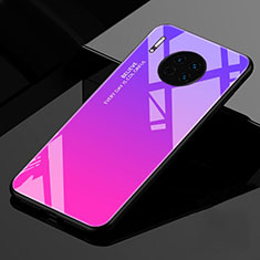 Silicone Frame Mirror Rainbow Gradient Case Cover for Huawei Mate 30 Pro 5G Hot Pink