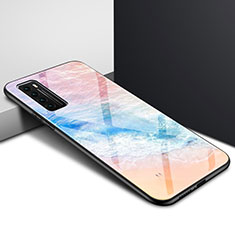 Silicone Frame Mirror Rainbow Gradient Case Cover for Huawei Nova 7 5G Orange