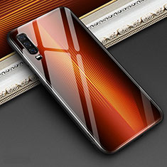 Silicone Frame Mirror Rainbow Gradient Case Cover for Huawei P30 Orange