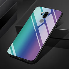 Silicone Frame Mirror Rainbow Gradient Case Cover for LG G7 Blue