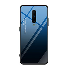 Silicone Frame Mirror Rainbow Gradient Case Cover for OnePlus 7 Pro Blue
