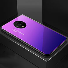 Silicone Frame Mirror Rainbow Gradient Case Cover for OnePlus 7T Purple