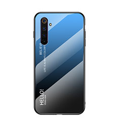 Silicone Frame Mirror Rainbow Gradient Case Cover for Realme 6 Blue