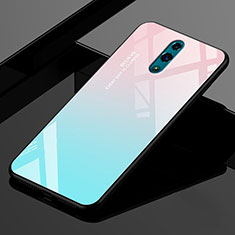 Silicone Frame Mirror Rainbow Gradient Case Cover for Realme X Cyan