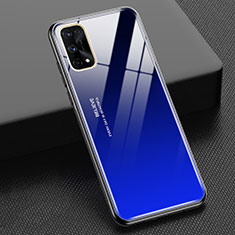 Silicone Frame Mirror Rainbow Gradient Case Cover for Realme X7 Pro 5G Blue