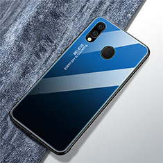 Silicone Frame Mirror Rainbow Gradient Case Cover for Samsung Galaxy A40 Blue
