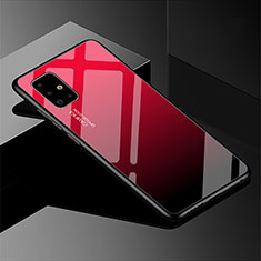 Silicone Frame Mirror Rainbow Gradient Case Cover for Samsung Galaxy A51 5G Red