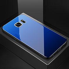 Silicone Frame Mirror Rainbow Gradient Case Cover for Samsung Galaxy S7 Edge G935F Blue