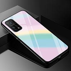 Silicone Frame Mirror Rainbow Gradient Case Cover for Xiaomi Mi 10T Pro 5G Colorful
