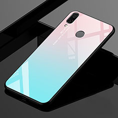 Silicone Frame Mirror Rainbow Gradient Case Cover for Xiaomi Redmi 7 Cyan