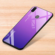 Silicone Frame Mirror Rainbow Gradient Case Cover for Xiaomi Redmi Note 7 Pro Purple