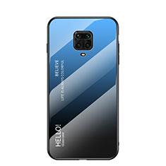 Silicone Frame Mirror Rainbow Gradient Case Cover for Xiaomi Redmi Note 9 Pro Max Blue
