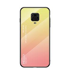 Silicone Frame Mirror Rainbow Gradient Case Cover for Xiaomi Redmi Note 9 Pro Yellow