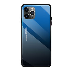 Silicone Frame Mirror Rainbow Gradient Case Cover H01 for Apple iPhone 11 Pro Max Blue