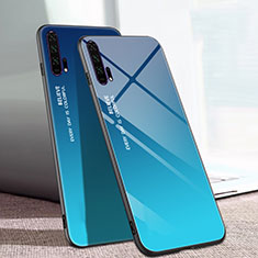 Silicone Frame Mirror Rainbow Gradient Case Cover H01 for Huawei Honor 20 Pro Blue