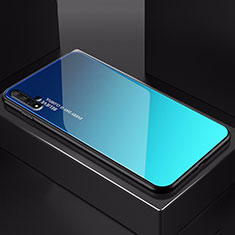 Silicone Frame Mirror Rainbow Gradient Case Cover H01 for Huawei Nova 5T Blue