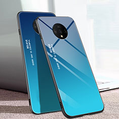 Silicone Frame Mirror Rainbow Gradient Case Cover H01 for OnePlus 7T Blue
